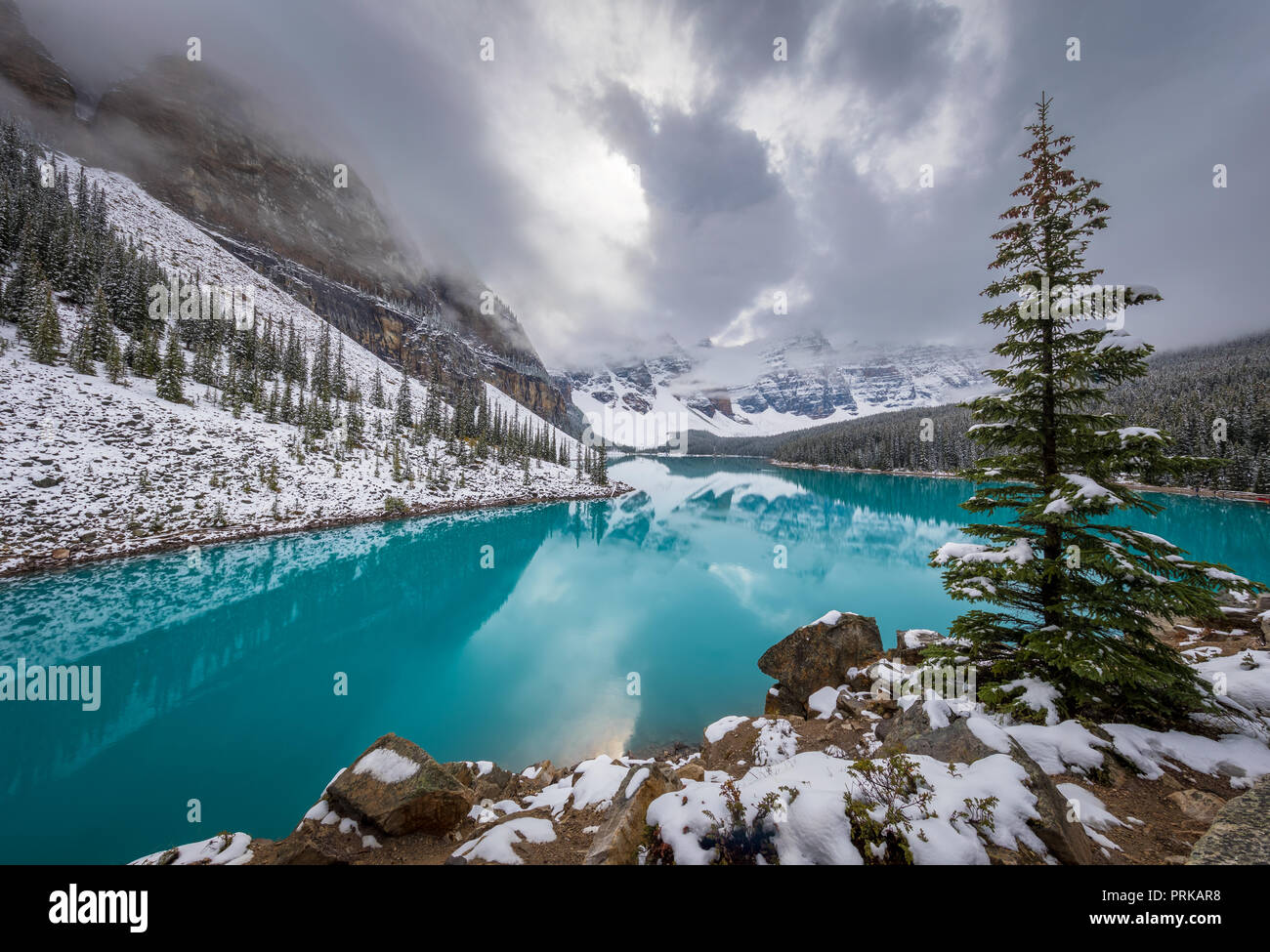 Moraine Lake Is A Glacially Fed Lake In Banff National Park