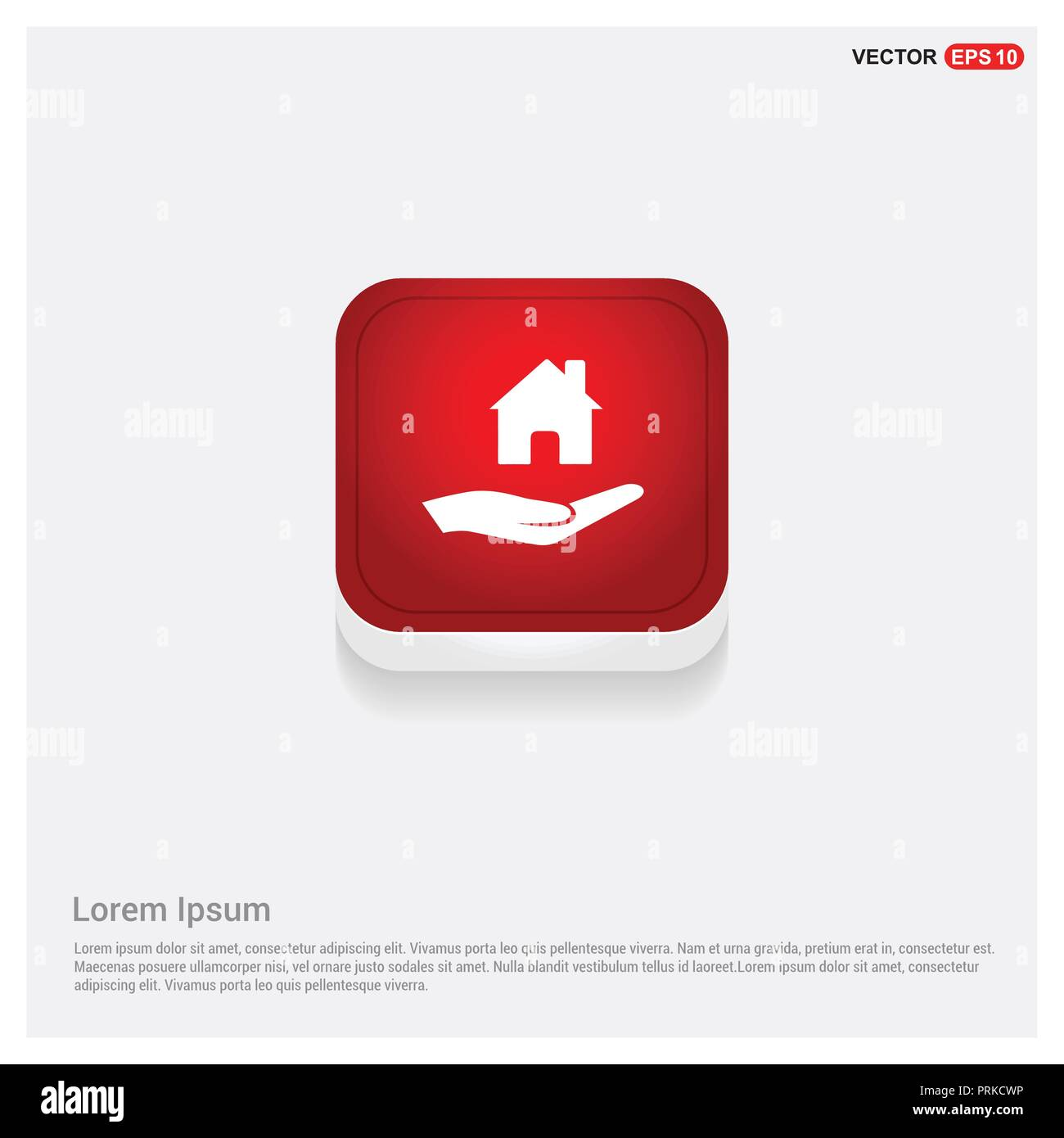 Hands holding house icon - Stock Image