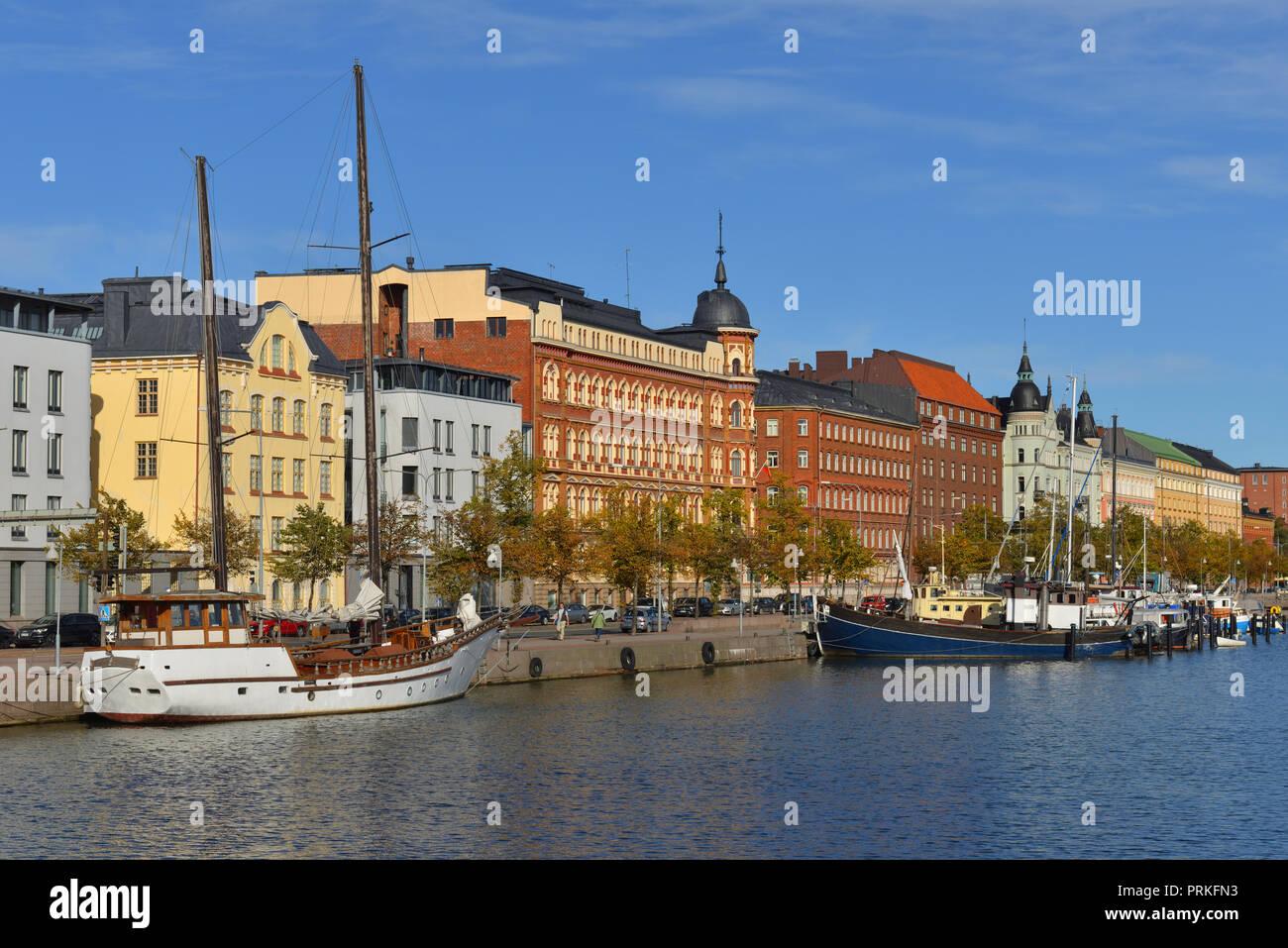 Pohjoisranta embankment and harbour. Katajanokka. Helsinki - Stock Image