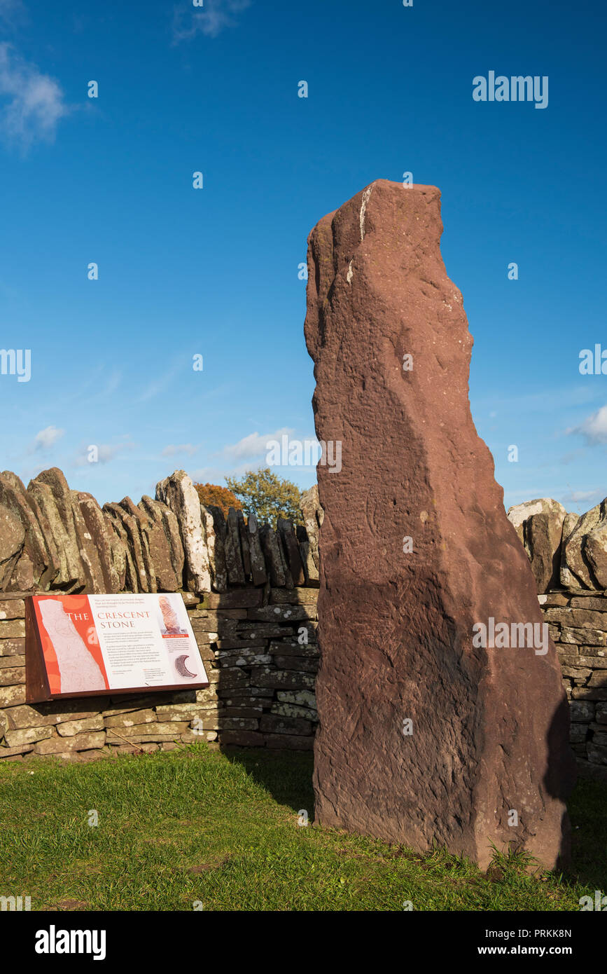 The Crescent Stone, one of three 8th century Pictish stones at the side of the B9134 at Aberlemno, Angus, Angus, Scotland. Stock Photo