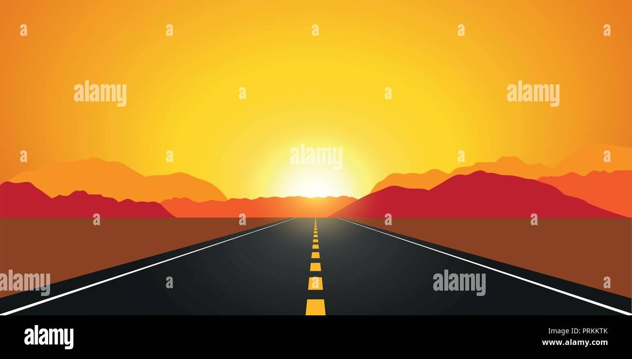 straight asphalt road in autumn at sunrise mountain landscape vector illustration EPS10 - Stock Vector