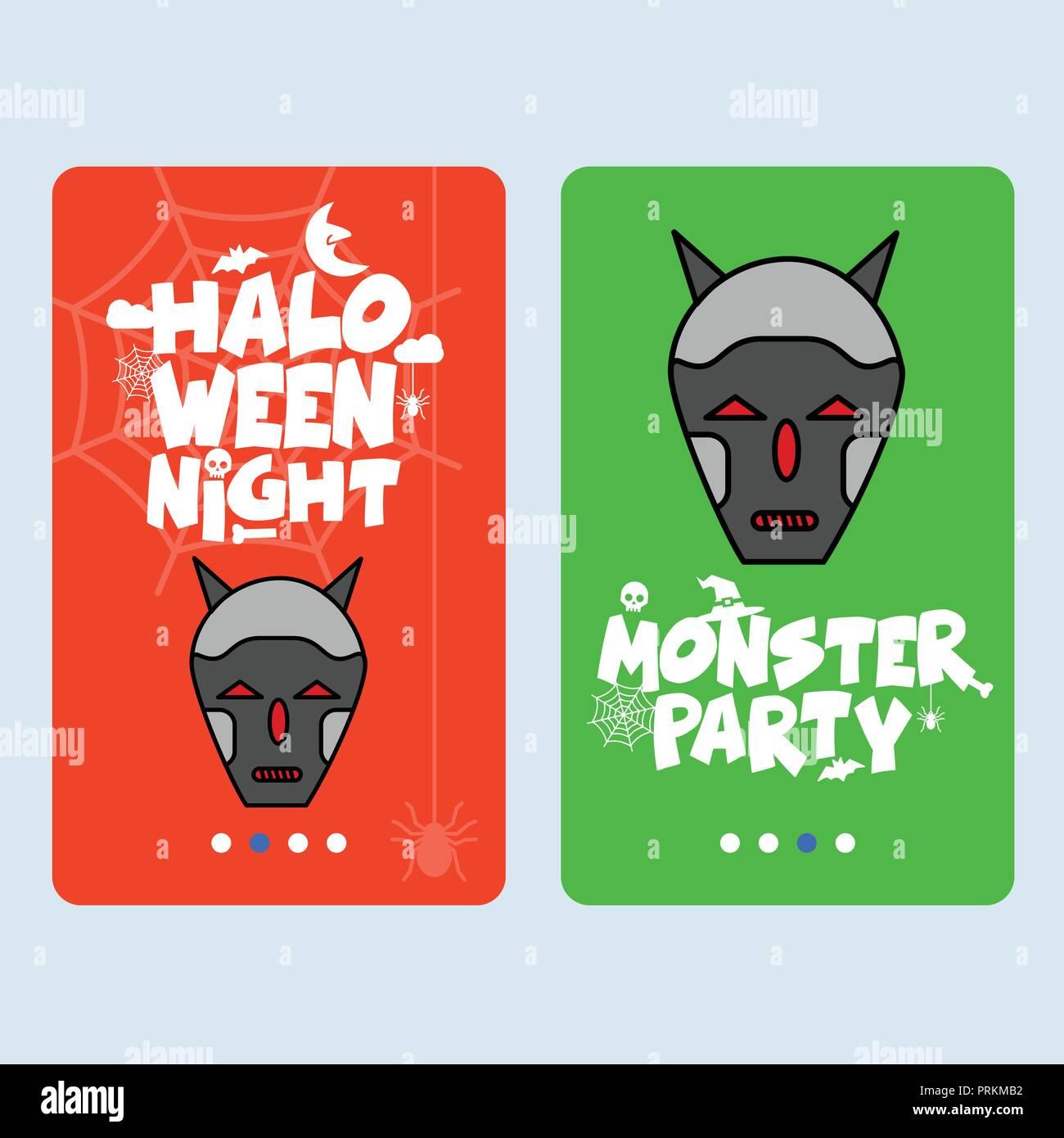 Happy Halloween invitation design with skull vector - Stock Image