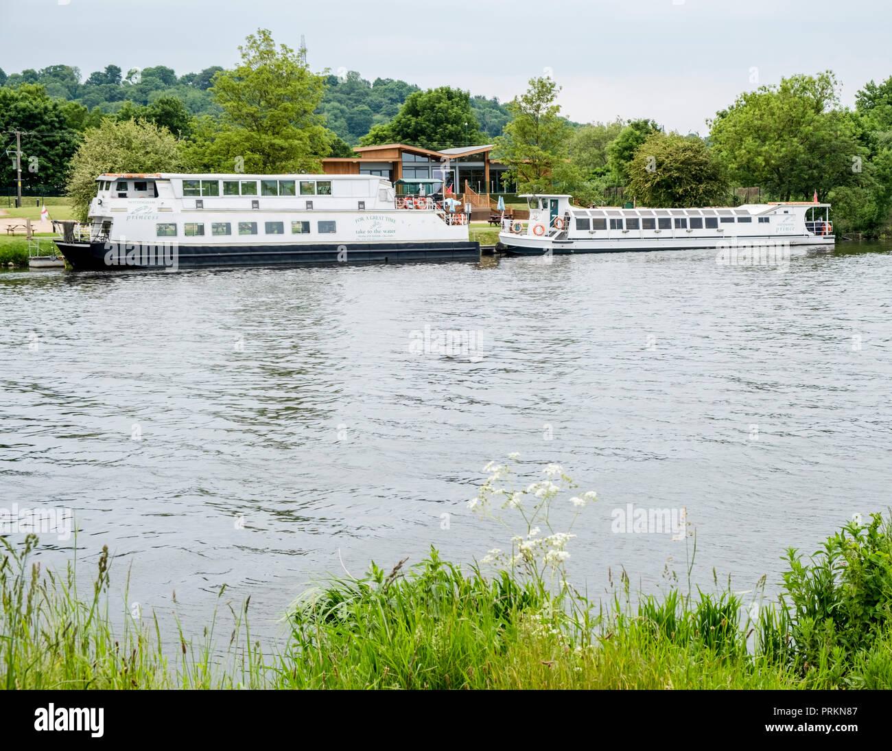 The Nottingham Princess and the Nottingham Prince river boat cruisers, River Trent, Nottingham, England, UK - Stock Image