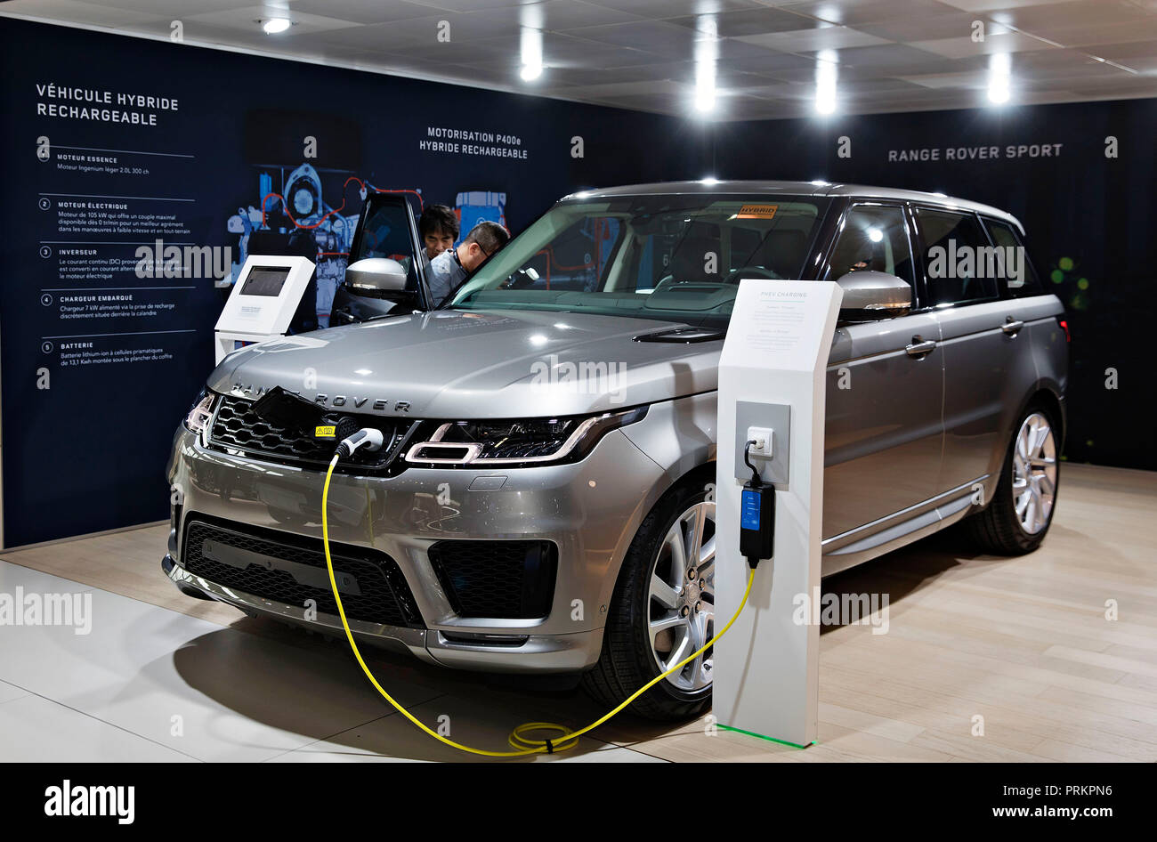 Range Rover Sport is being charged during the International Motor Show in Paris, on Tuesday, October 2nd, 2018. (CTK Photo/Rene Fluger) - Stock Image
