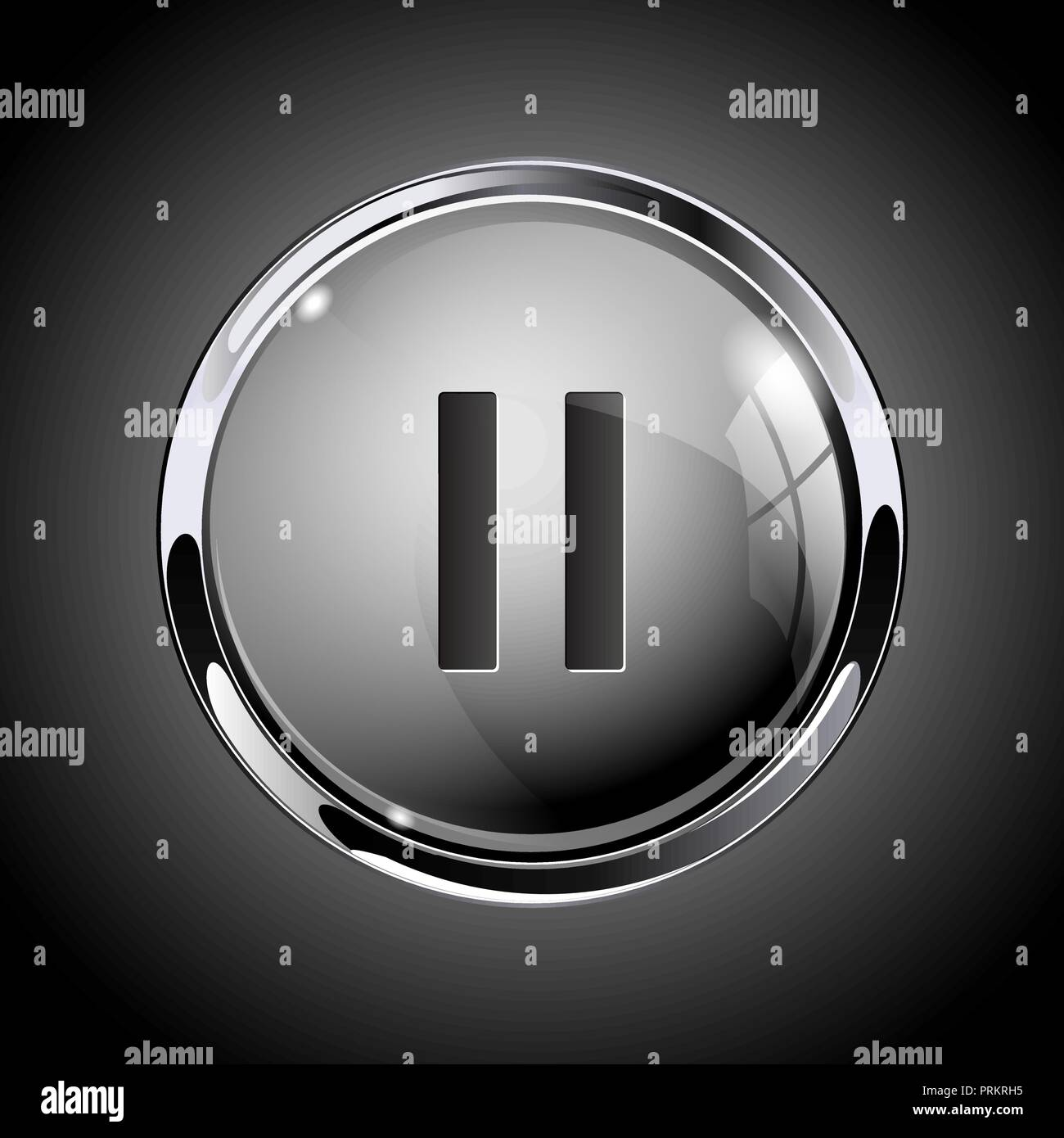 Pause button. 3d shiny gray icon for media - Stock Image
