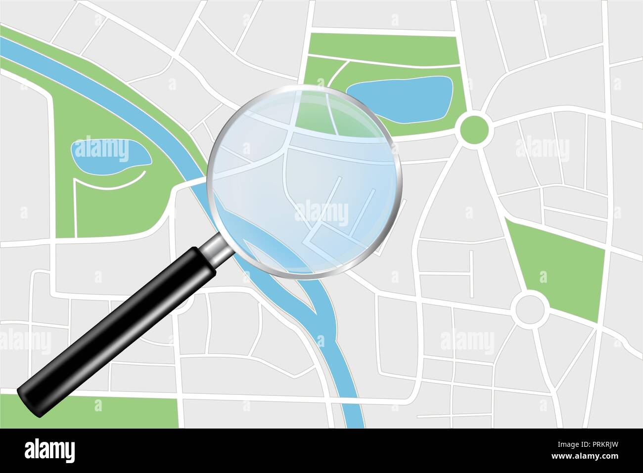 City map and Transparent Magnifying glass - Stock Vector