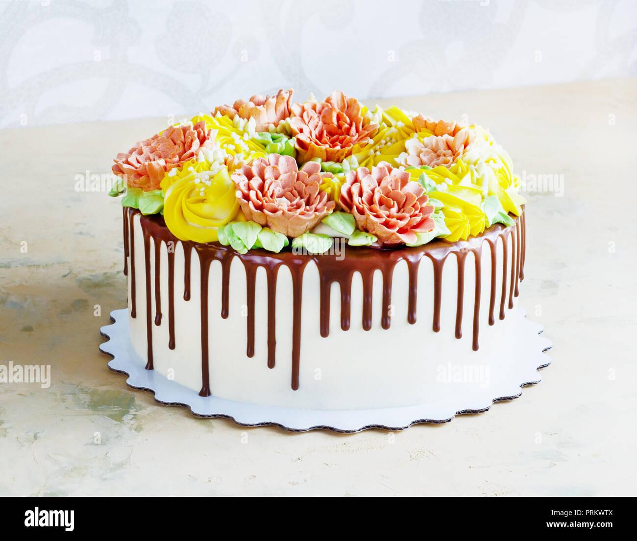 Birthday Cake Rose Flowers Stock Photos Birthday Cake Rose Flowers