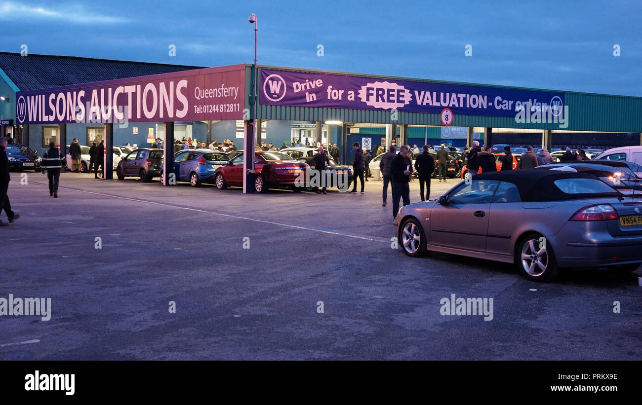 Wilson's Car Auctions, Station Road, Queensferry, Flintshire. Taken in March 2018. - Stock Image