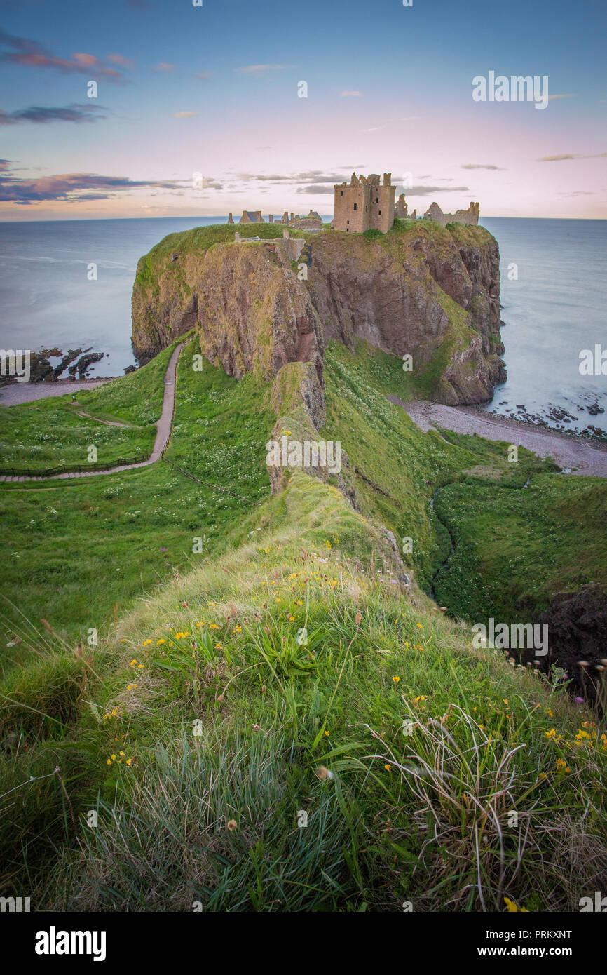 Dunnottar castle in scottish highland - Stock Image