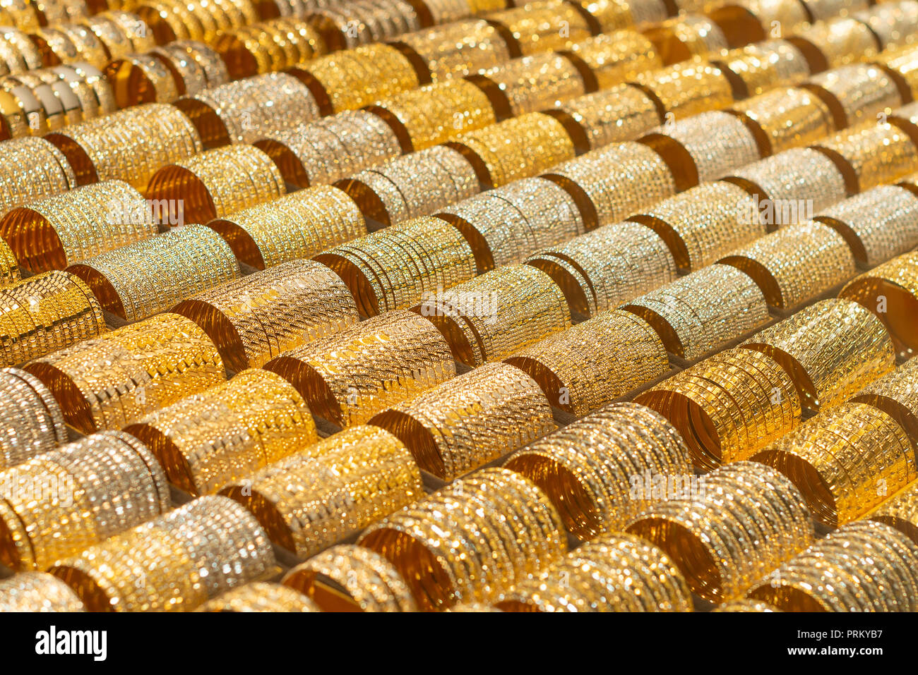 Grand Bazaar in Teheran Iran - gold market with hundreds bracelets, jewelery. - Stock Image