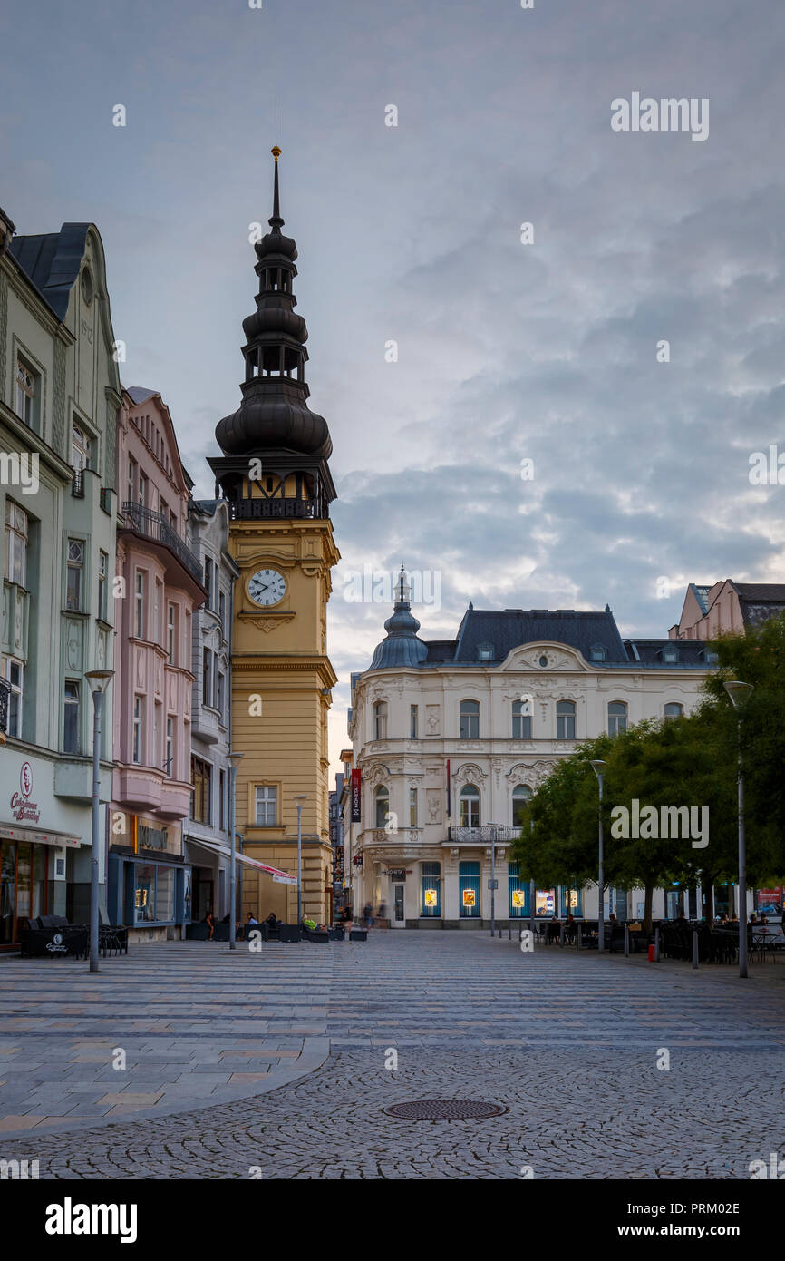 Ostrava, Czech Republic - August 21, 2018: View of the main square of Ostrava's old town at sunset. - Stock Image