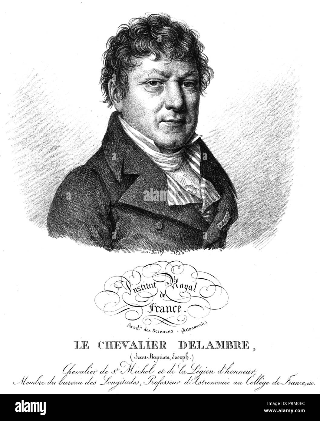 JEAN BAPTISTE DELAMBRE (1749-1822) French mathematician and astronomer - Stock Image