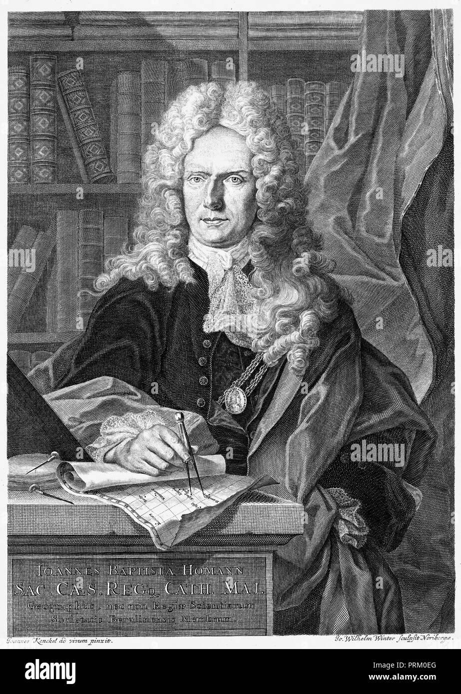 JOHANN BAPTIST HOMANN (1664-1724) German geographer and cartographer - Stock Image