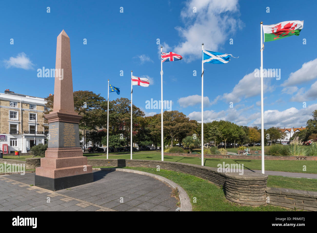 War memorial to the dead of the South African War (1899-1902) in Steyne Gardens at Worthing, West Sussex, England, UK. War monument. - Stock Image