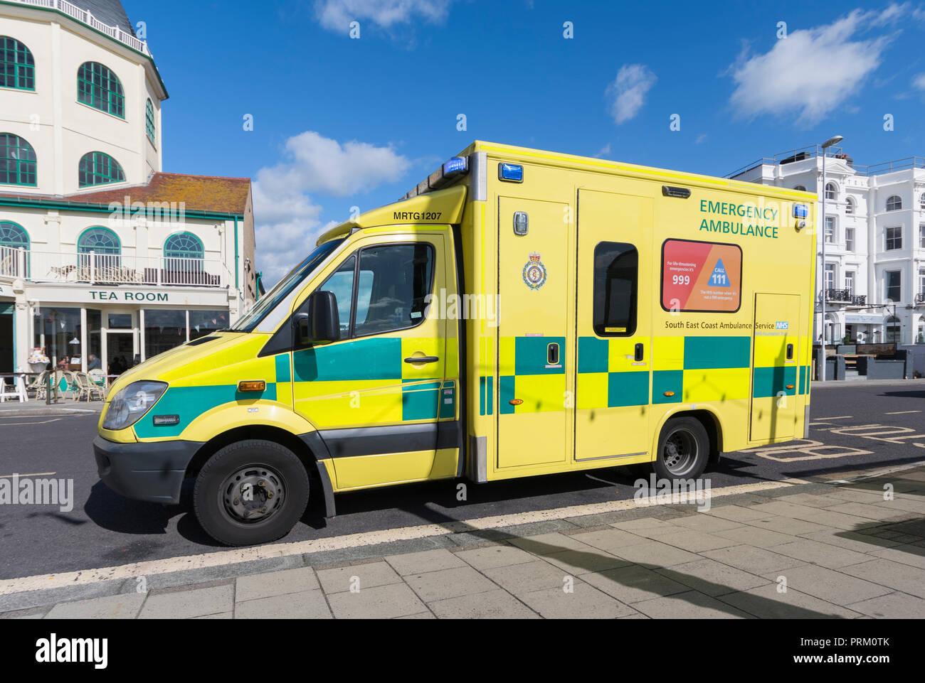 South East Coast Emergency Ambulance parked in Worthing, West Sussex, England, UK. NHS ambulance UK. - Stock Image