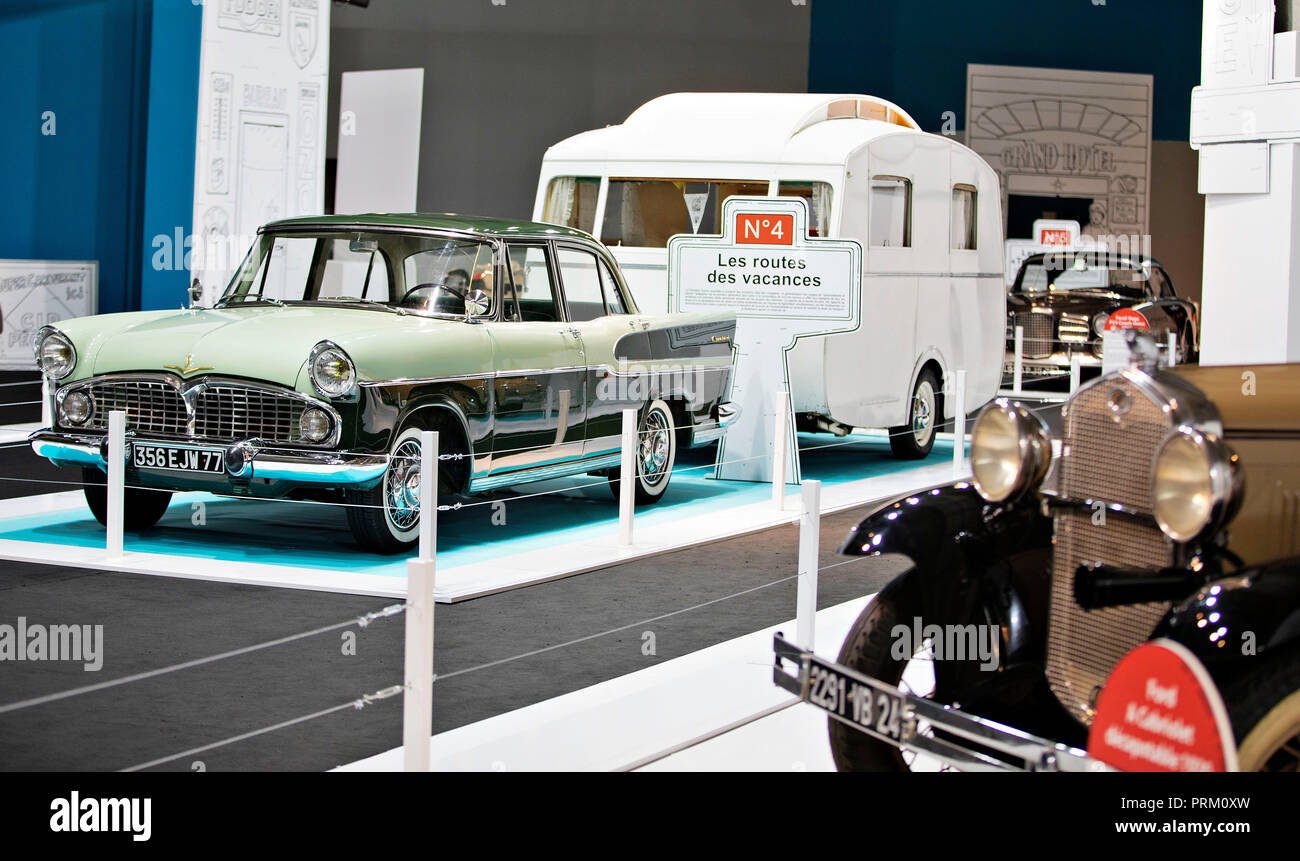 Historical vehicles displayed in one of pavilions during the second press day of the International Motor Show in Paris, France, on Wednesday, October - Stock Image