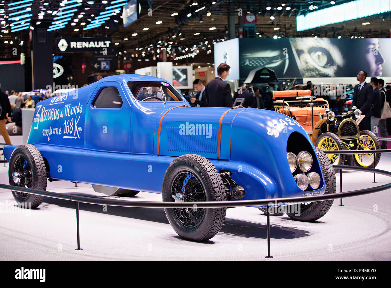 Racing car that broke several speed records is part of Renault exposition during the second press day of the International Motor Show in Paris, France - Stock Image