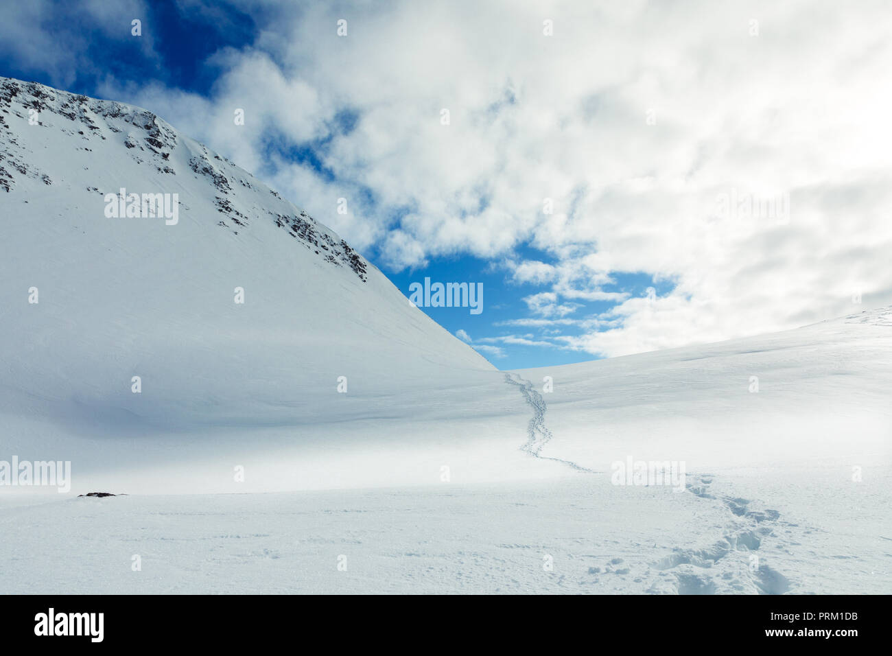 Tracks leading up a snow covered mountain with dramatic blue skies in Norway. - Stock Image