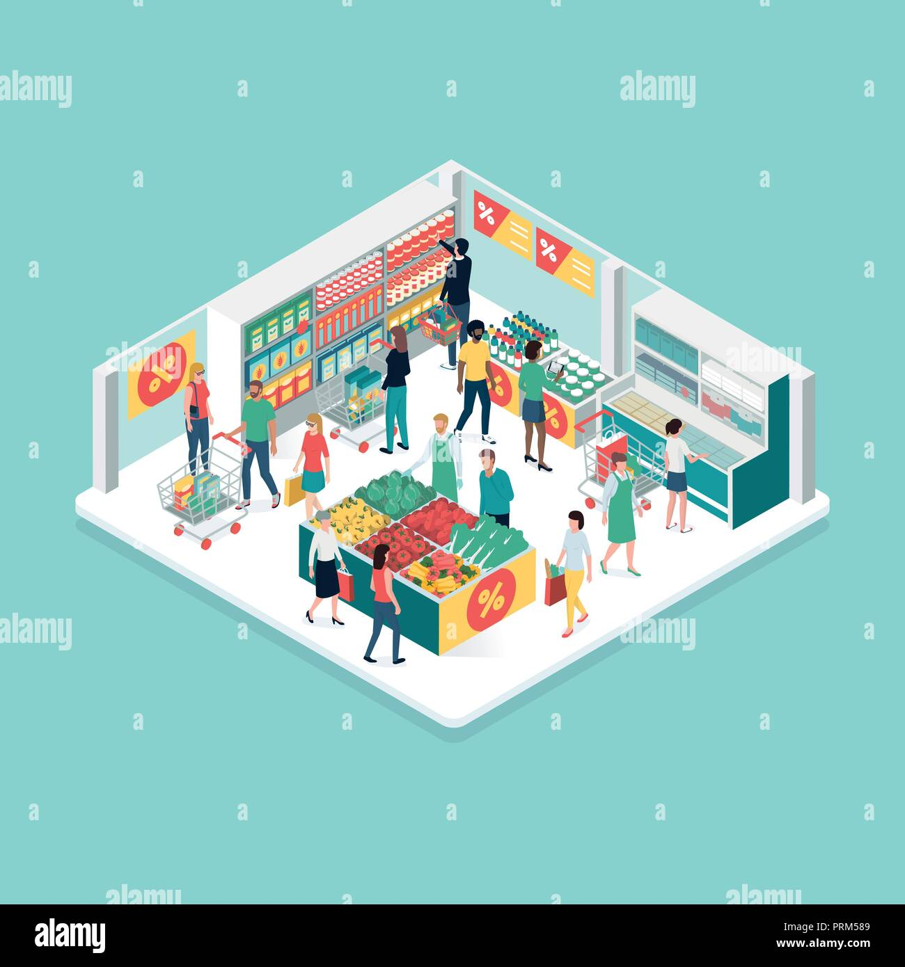 People doing grocery shopping at the supermarket, isometric shop interior: discounts and retail concept - Stock Vector