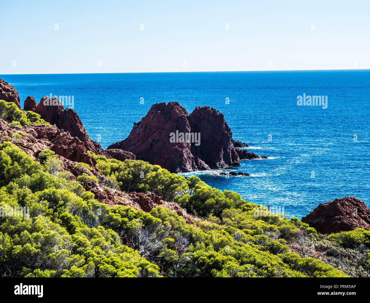 View over a national park direktly next to the mediterranean sea in france.Shot near Le Dramont, France (fr) - Stock Image