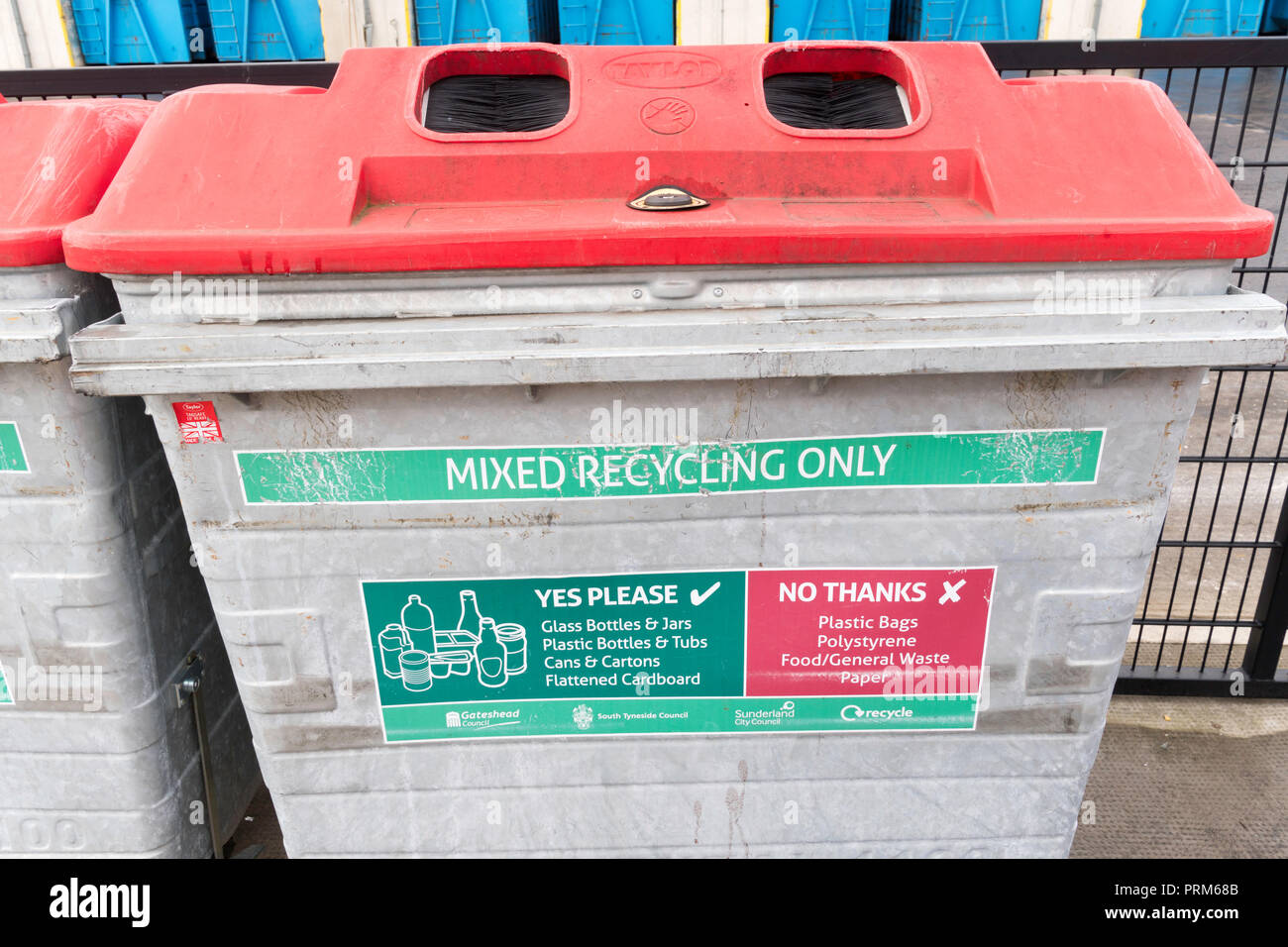 Mixed Recycling Bin at the Campground waste and recycling centre in Wrekenton, Gateshead, England, UK - Stock Image