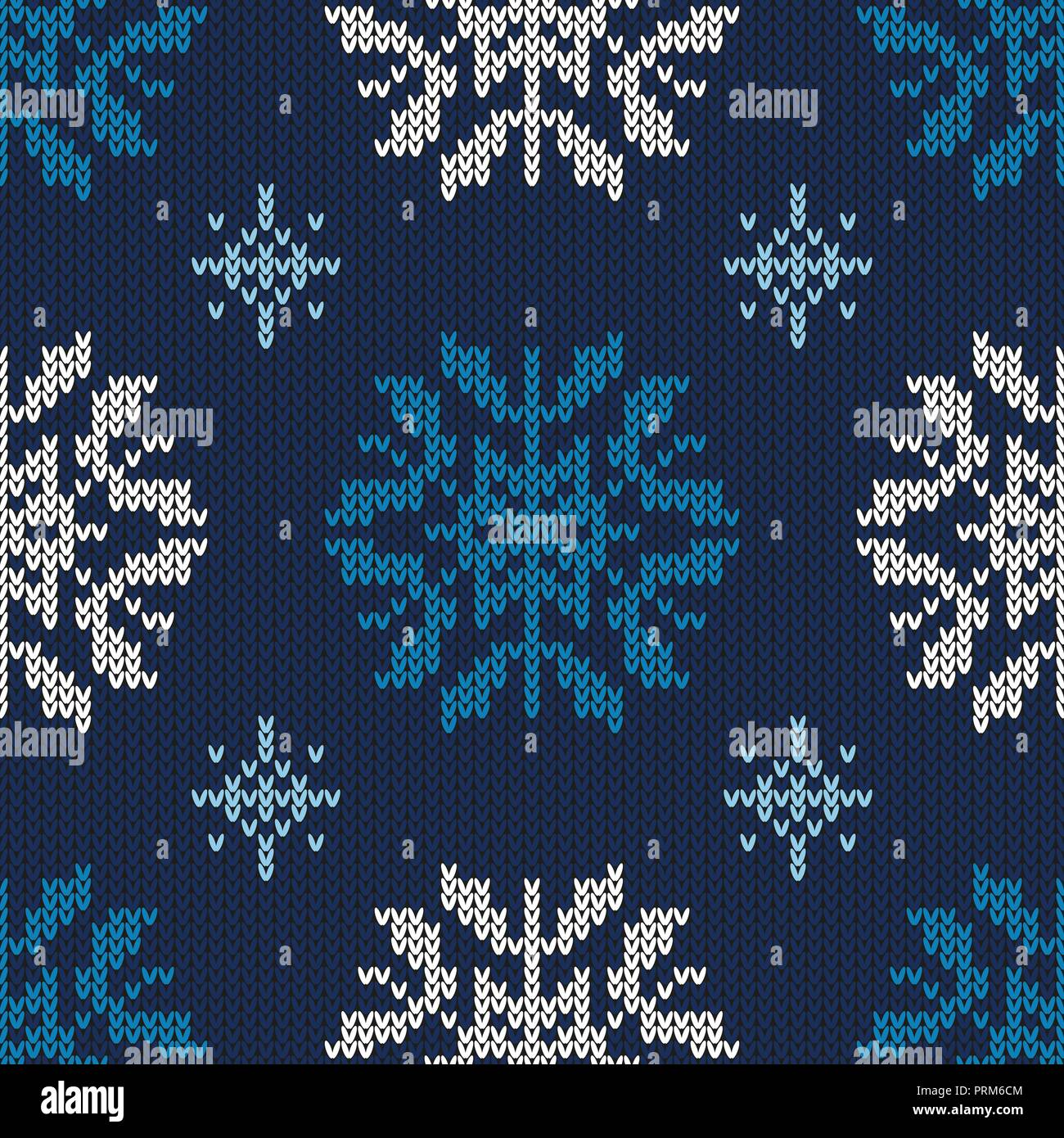 Christmas abstract knitted pattern. Christmas seamless pattern. Design for sweater, scarf, comforter or clothes texture. Vector illustration. - Stock Vector