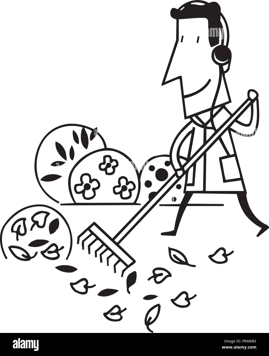 man cleaning garden cartoon illustration - Stock Image
