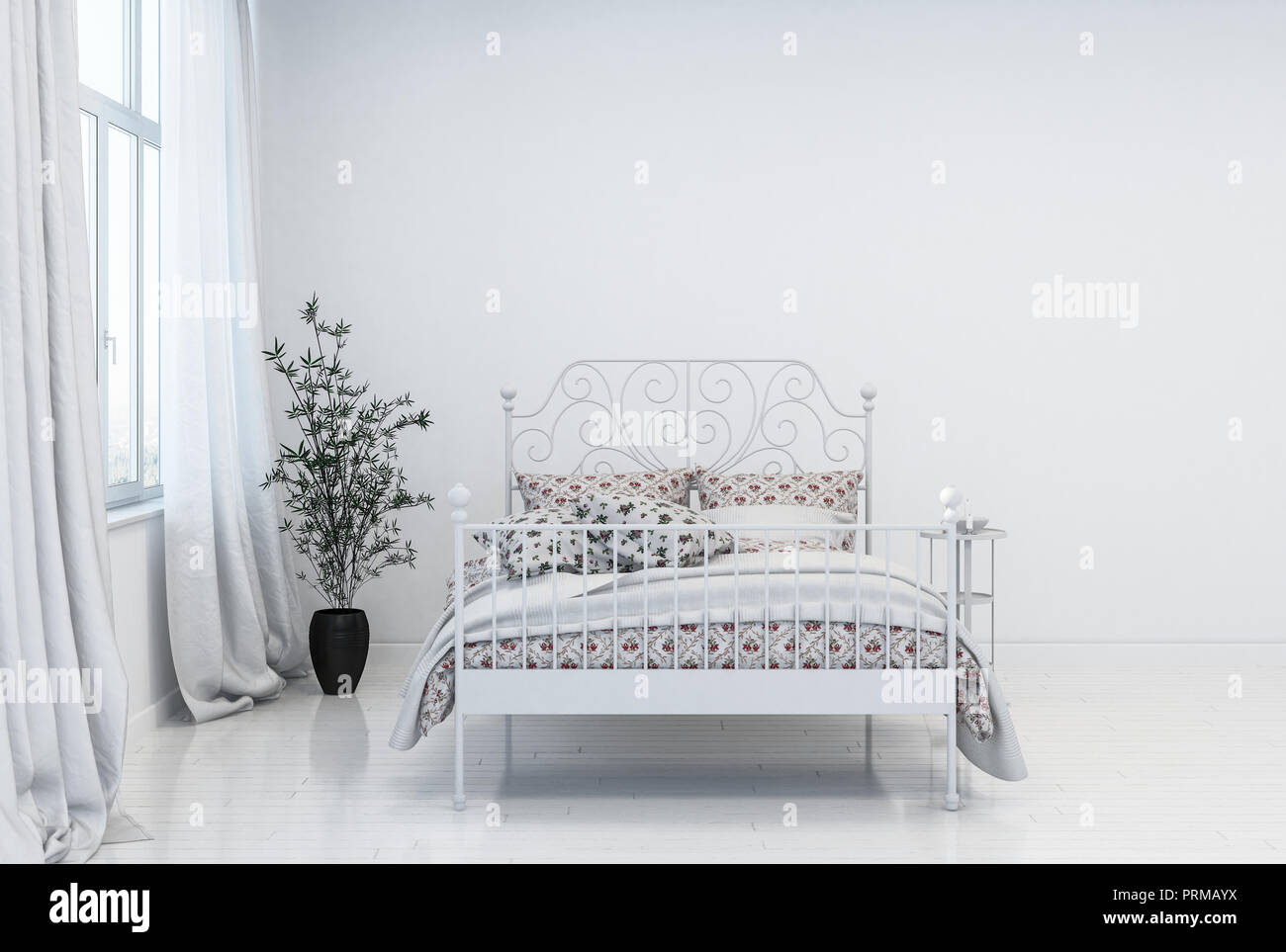 Trendy Modern Minimalist White Bedroom Interior With Double Bed With Metal Frame In Front Of A Window With Long Drapes And Potted Plant 3d Rendering Stock Photo Alamy