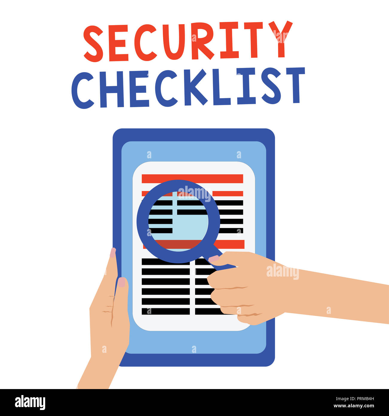 Handwriting text Security Checklist. Concept meaning Protection of Data and System Guide on Internet Theft. - Stock Image
