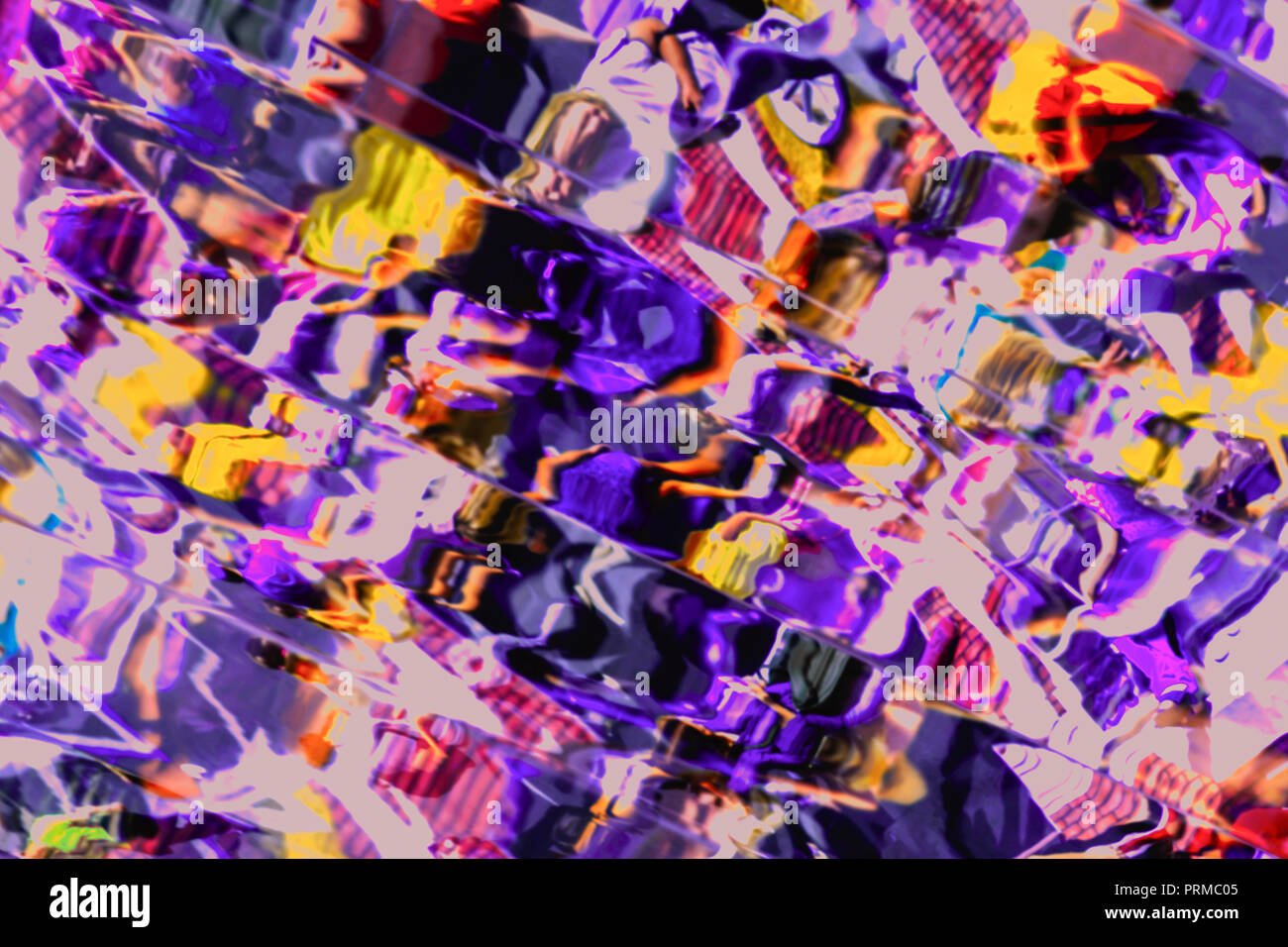 Distorted image with deformation in a variety of mirrors, abstract bright background for different themes - Stock Image