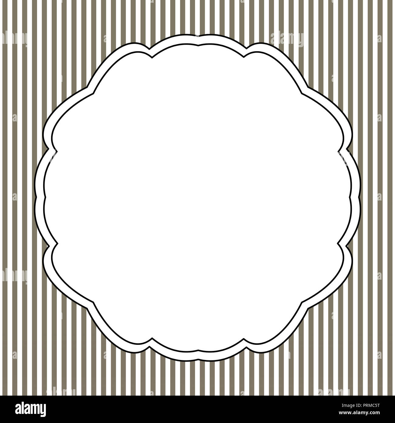 Vintage White Frame With Black Border On A Striped Background Stock