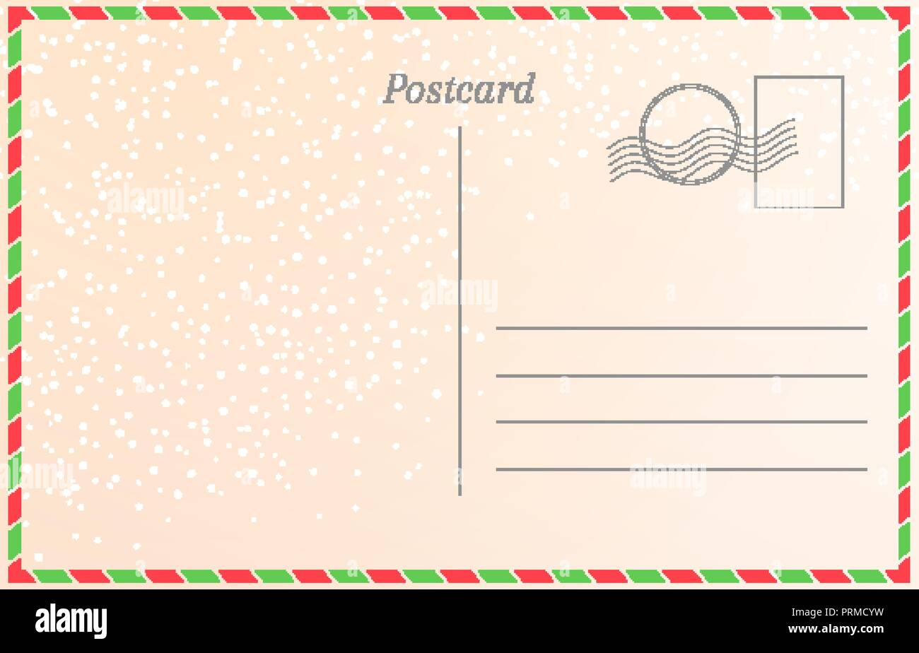 winter holiday postcard with snowfall new year greeting card template