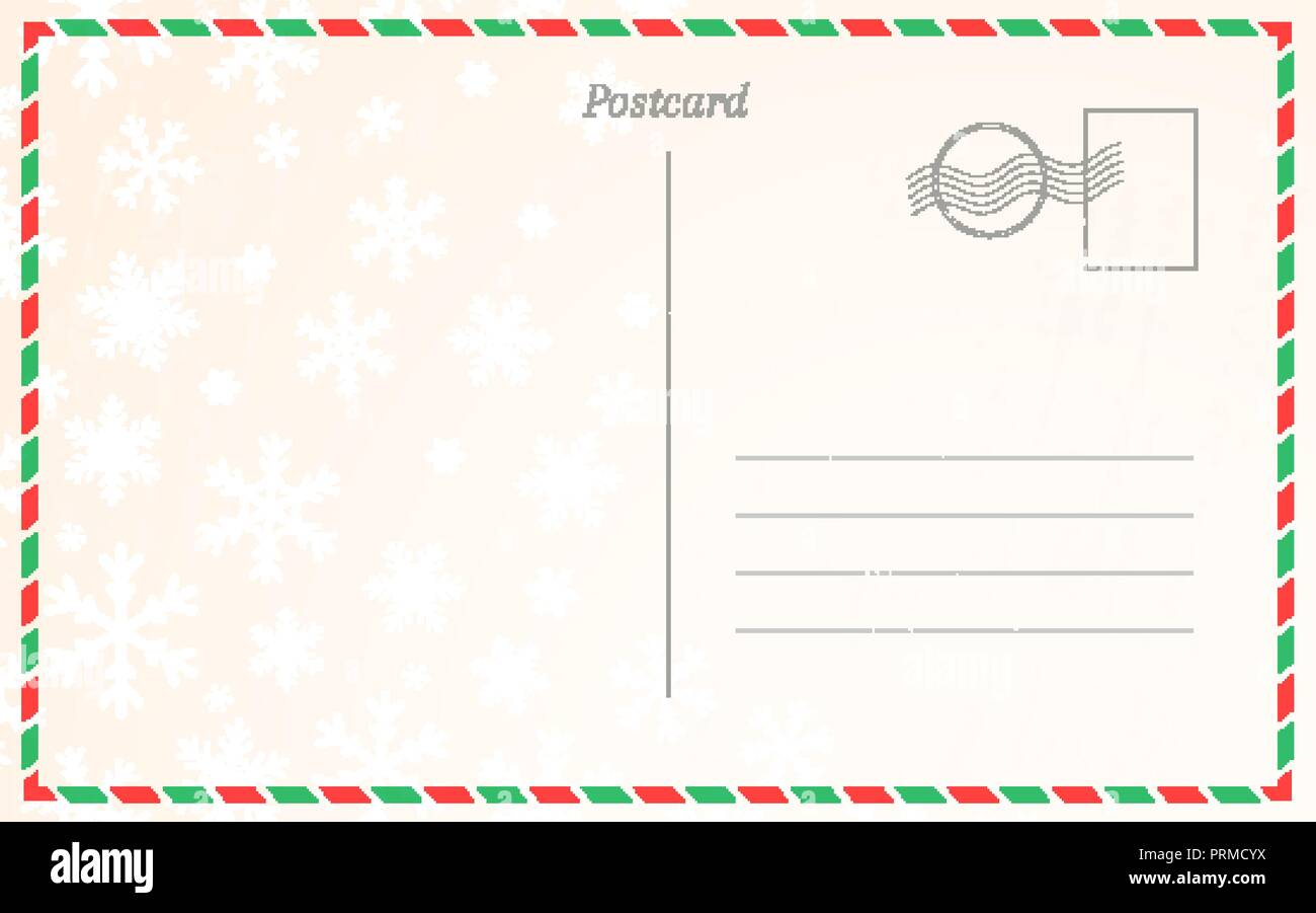 old postal card template with winter snowflakes postcard back design for christmas and new year greetings