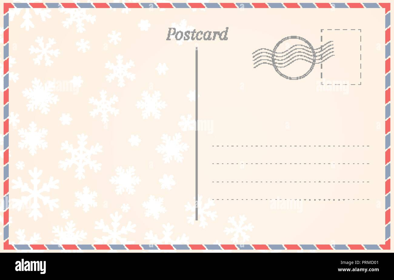 Vintage old postcard design with snow. Greeting card back template.