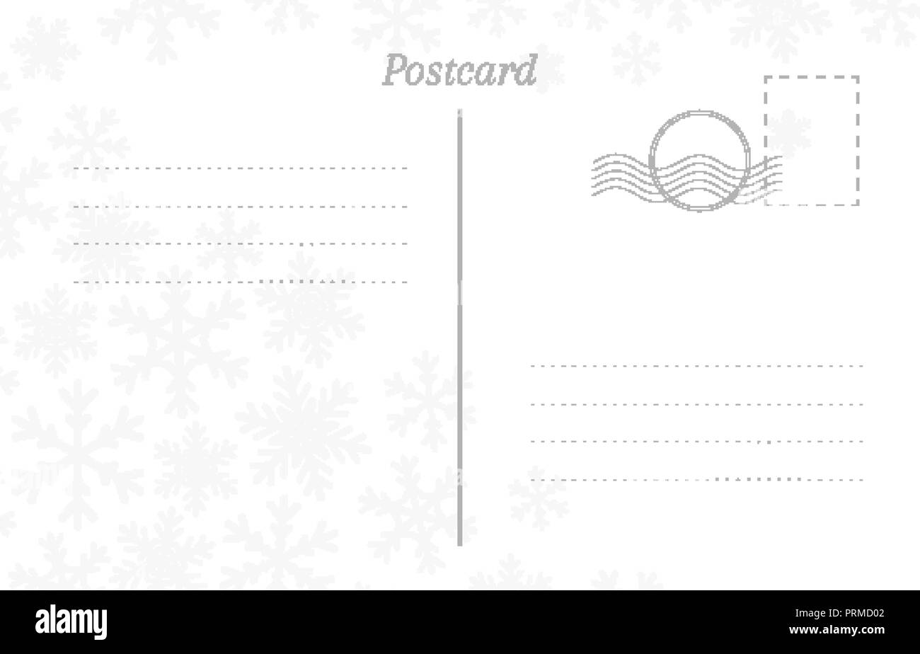 winter greeting postcard back template with snowflakes stamp and a