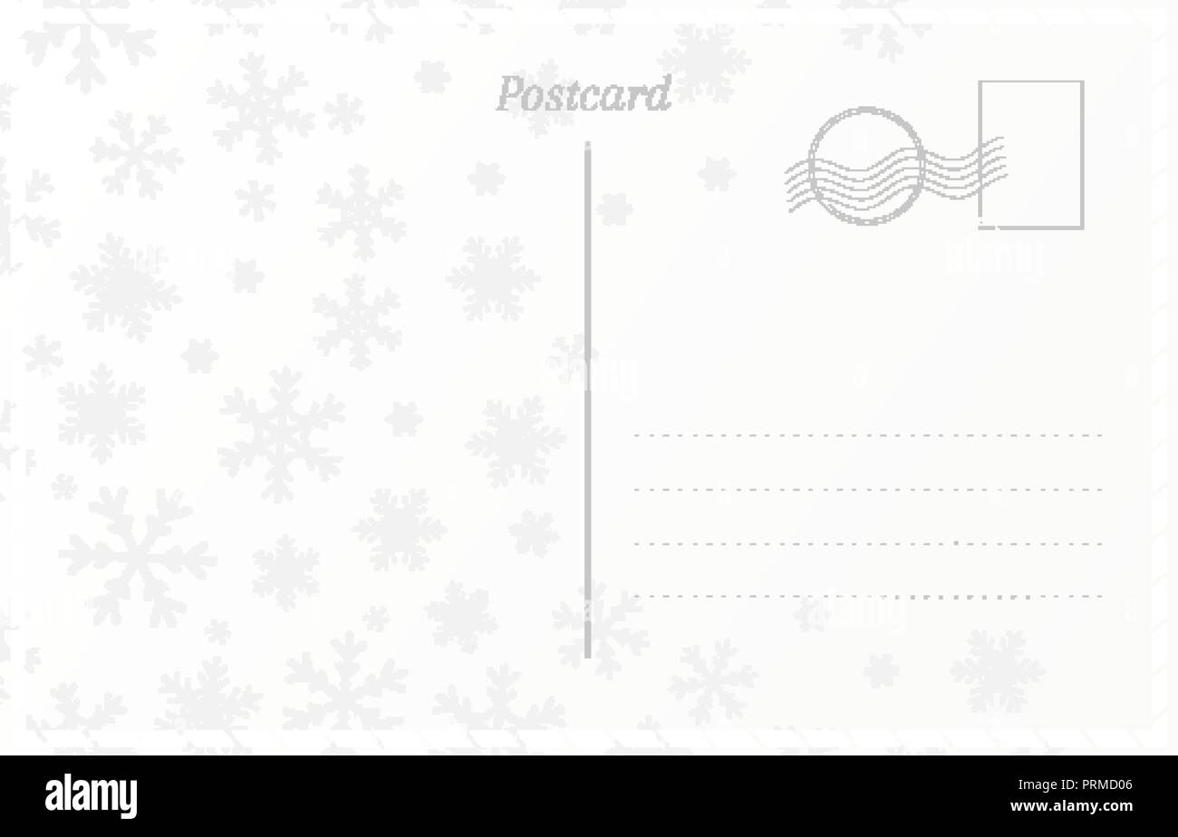 retro postcard template for new year and christmas greetings postal card with snowflakes design