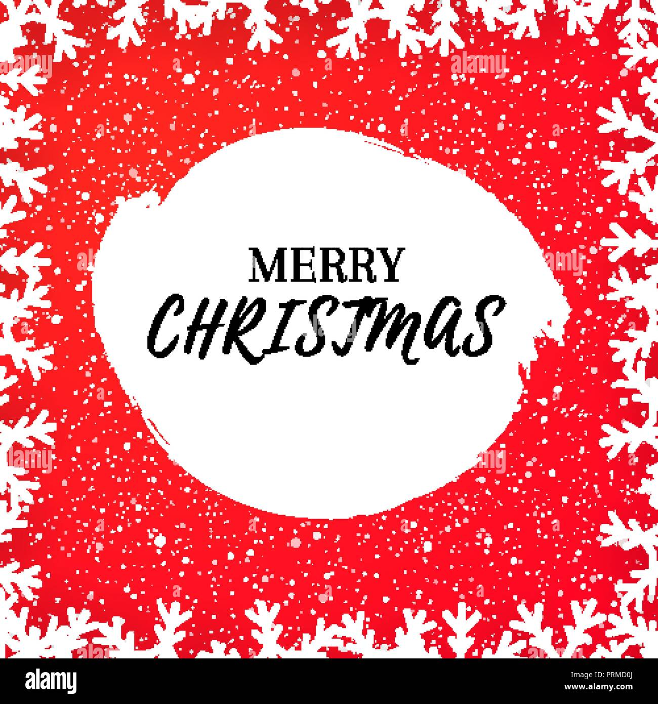 christmas greeting card template with falling snow and snowflake