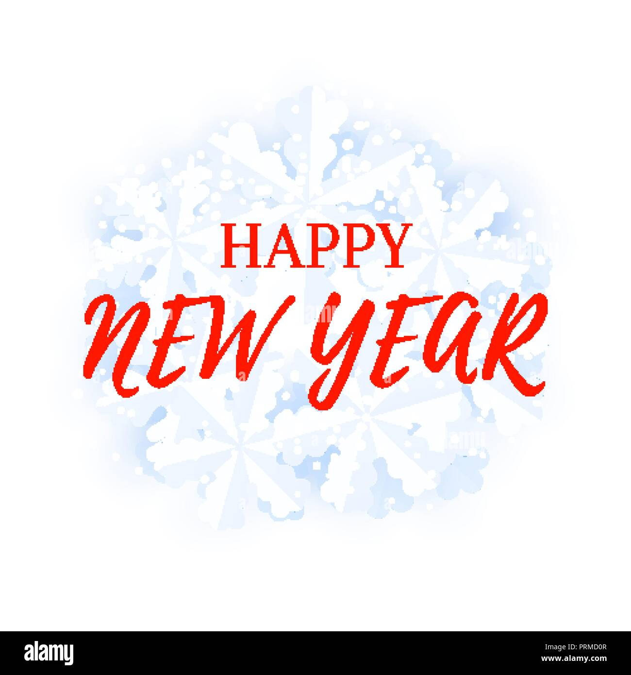 happy new year greeting card template with snowfall and snowflakes background
