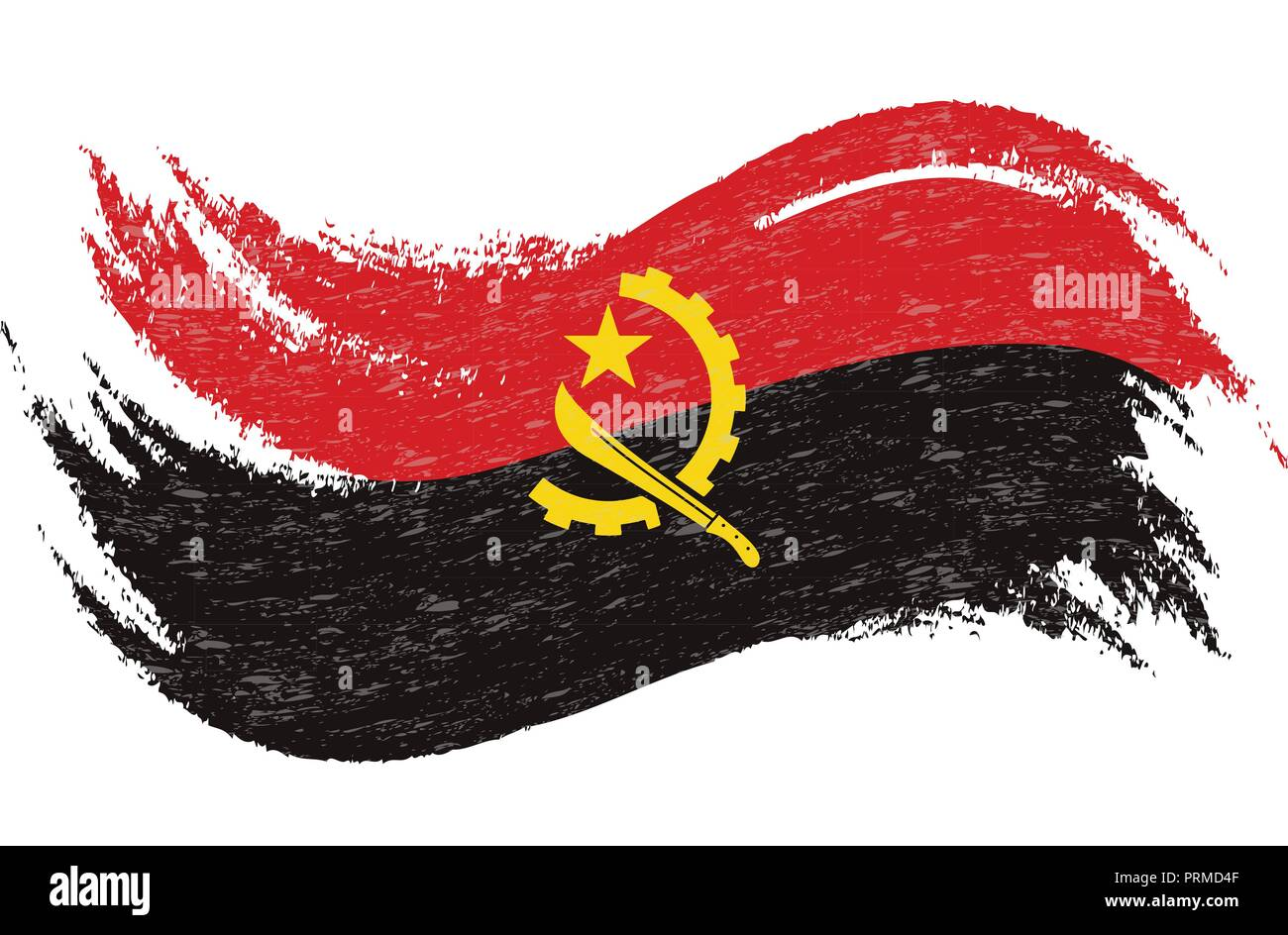 National Flag Of Angola, Designed Using Brush Strokes,Isolated On A White Background. Vector Illustration. - Stock Image