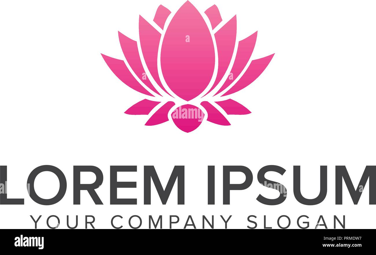 Beautiful Lotus Flower Symbol Logo Design Concept Template Stock