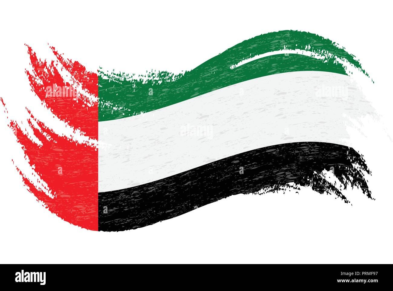 National Flag Of United Arab Emirates, Designed Using Brush Strokes,Isolated On A White Background. Vector Illustration. - Stock Image