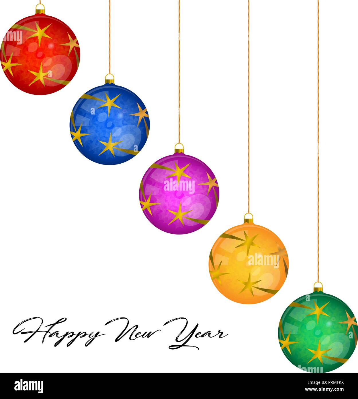 Multicolored Glass Christmas Balls Vector Greeting Card Template