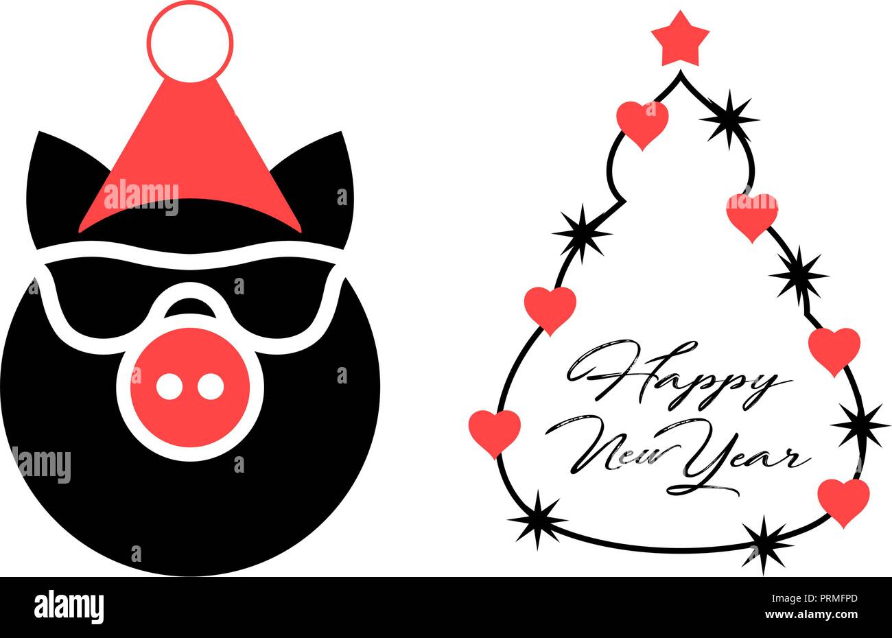 year of the pig 2019 vector christmas greeting card template merry christmas and happy new year design elements resource for creating postcards