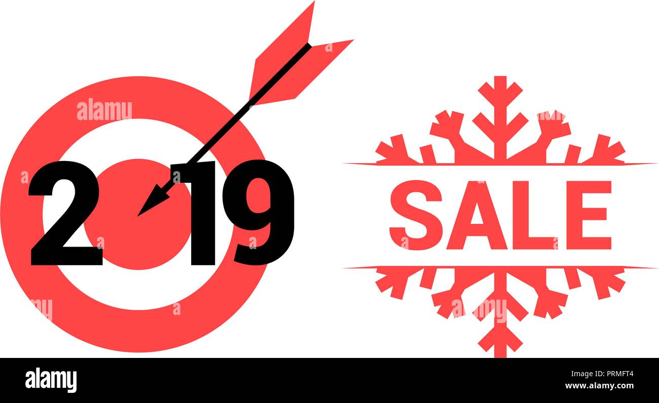 new year 2019 vector target and sale symbols merry christmas and happy new year design elements resource for creating postcards calendars or posters