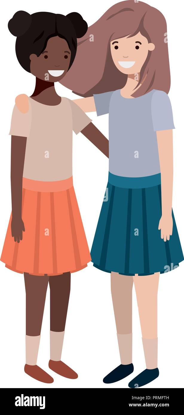 friendly teenagers ethnicity girls characters - Stock Image