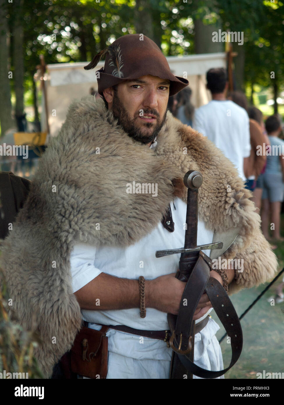 A medieval fair at the Chateau de Flamanville in Normandy - Stock Image