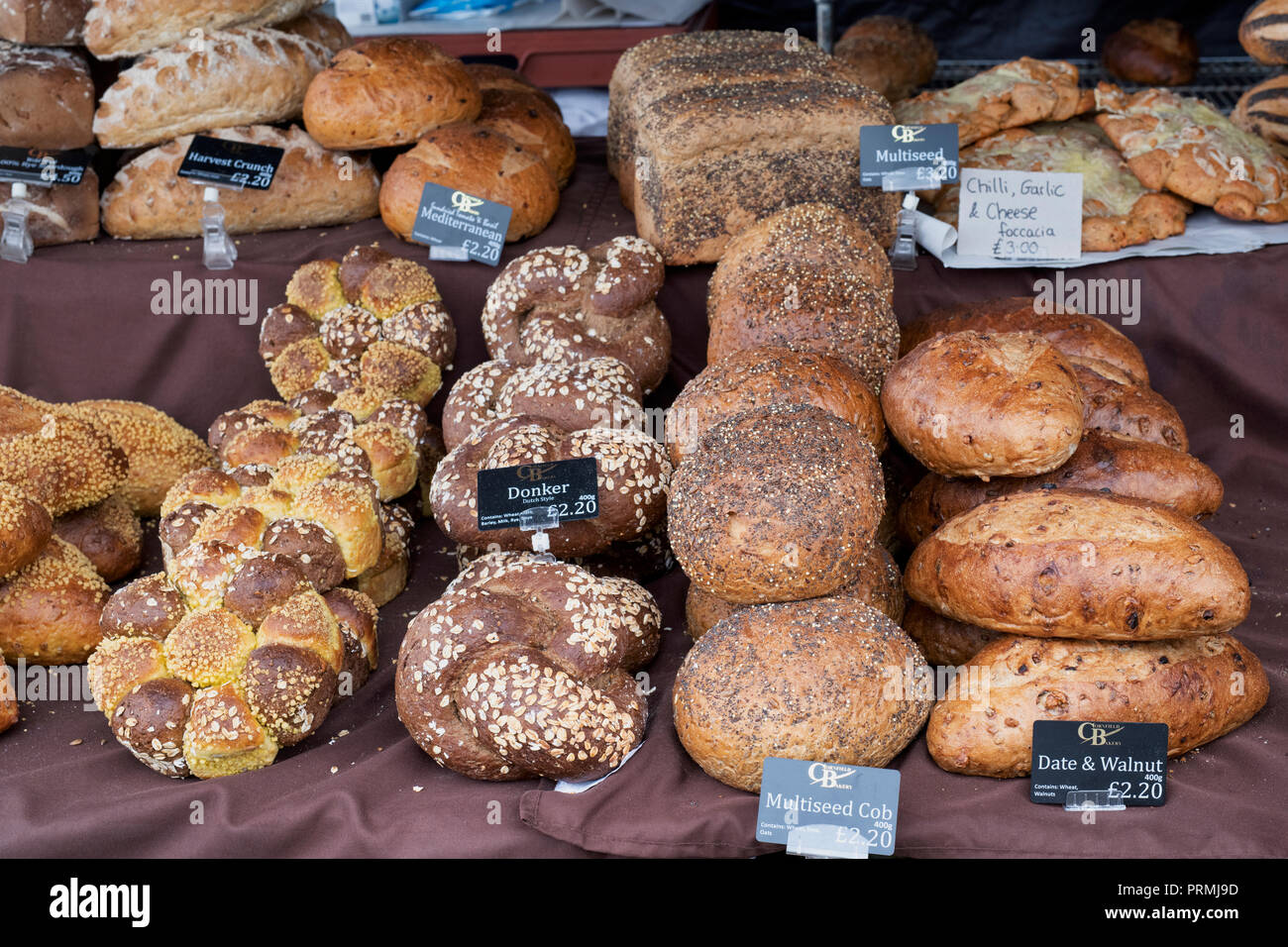 Artisan Breads for sale at the Thame food festival. Thame, Oxfordshire, England - Stock Image