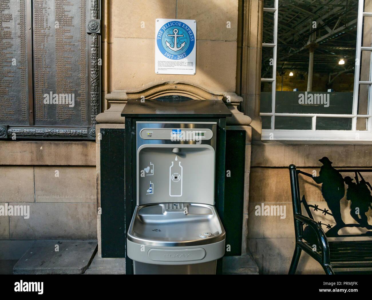 New environmentally friendly top up reusable bottle refill tap to encourage plastic waste reduction, Waverley Railway Station, Edinburgh, Scotland, UK - Stock Image