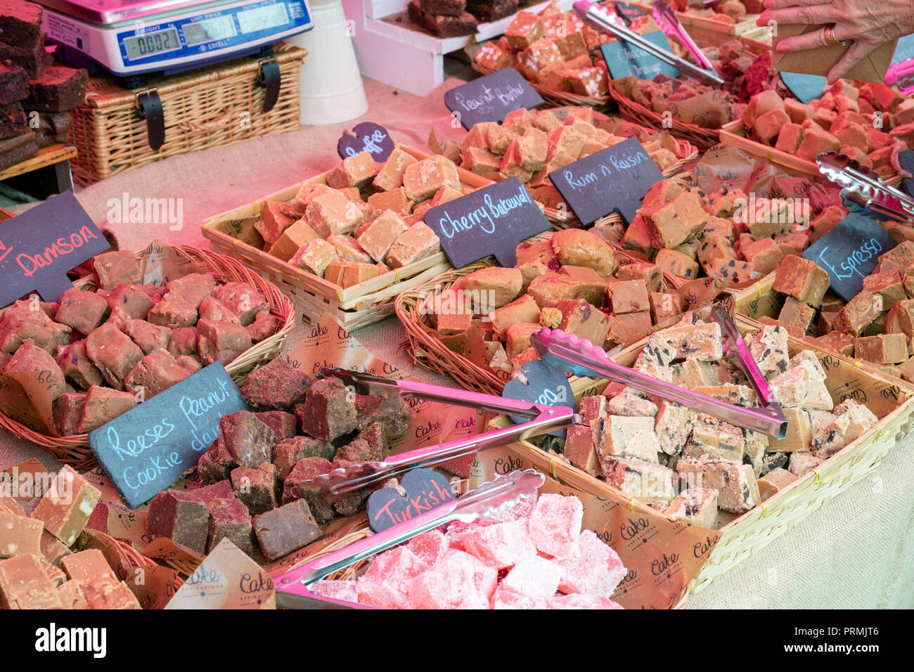 Fudge stall at the Thame food festival. Thame, Oxfordshire, England - Stock Image