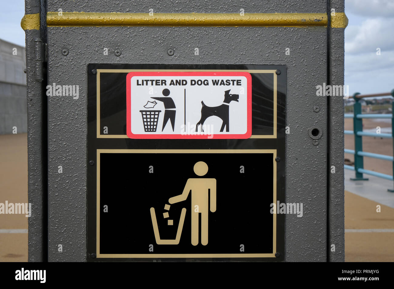Litter and dog waste trash can or bin - Stock Image
